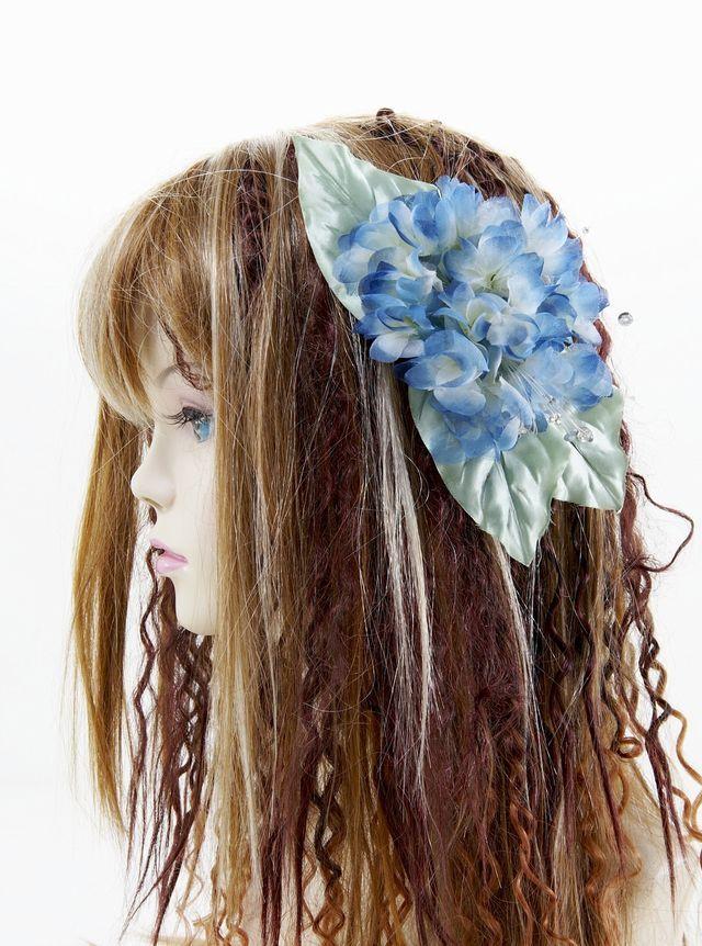 【特価SALE 髪飾り・ヘアアクセサリー】紫陽花-ブルー・バレッタ
