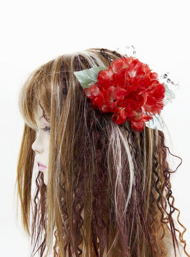 【特価SALE 髪飾り・ヘアアクセサリー】紫陽花-ビューティーレッド・バレッタ
