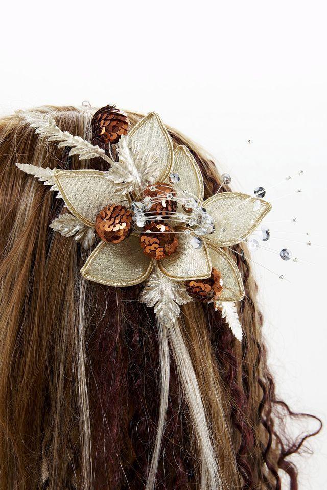 【特価SALE 髪飾り・ヘアアクセサリー】和洋両用-ゴールドブラウン・コーム