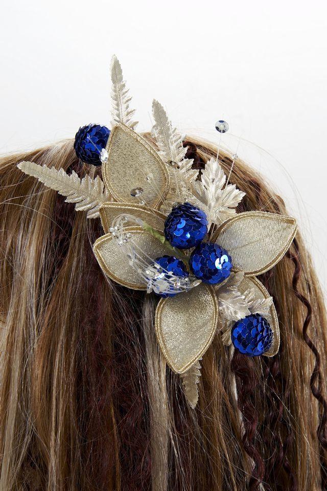 【特価SALE 髪飾り・ヘアアクセサリー】和洋両用-ゴールドブルー・コーム
