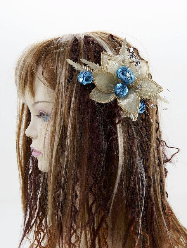 【特価SALE 髪飾り・ヘアアクセサリー】和洋両用-ゴールドアクア・コーム