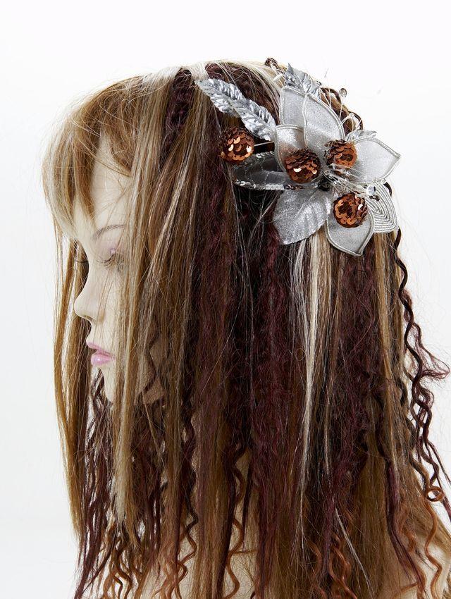 【特価SALE 髪飾り・ヘアアクセサリー】和洋両用-シルバーブラウン・コーム