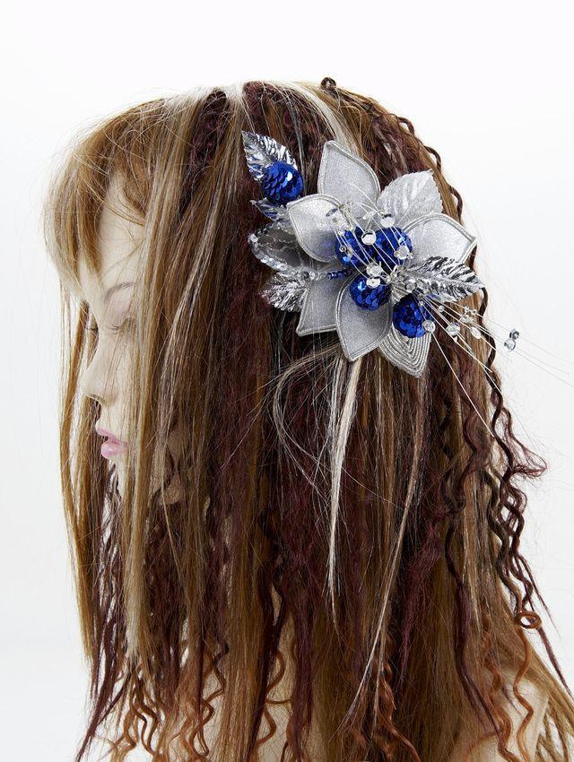 【特価SALE 髪飾り・ヘアアクセサリー】和洋両用-シルバーブルー・コーム