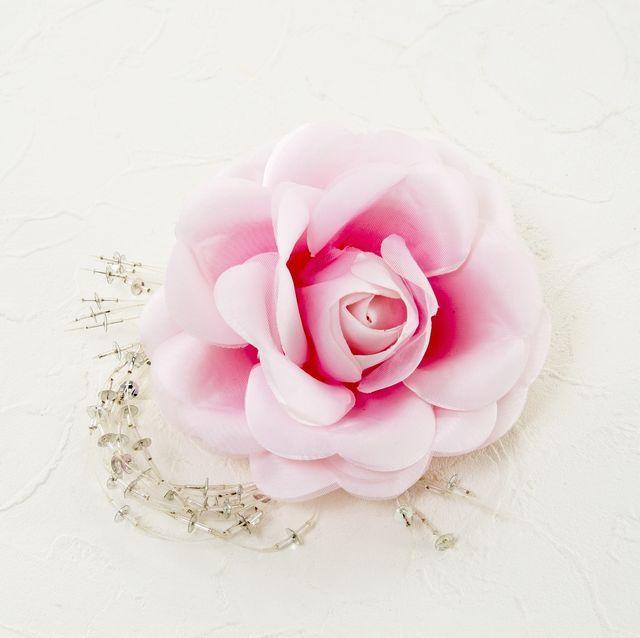 【特別価格SALE 髪飾り・ヘアアクセサリー】ローズ髪飾り(ピンク)/コームタイプ
