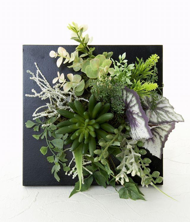【スクエアフレーム 造花インテリアグリーン】翡翠-Lサイズ