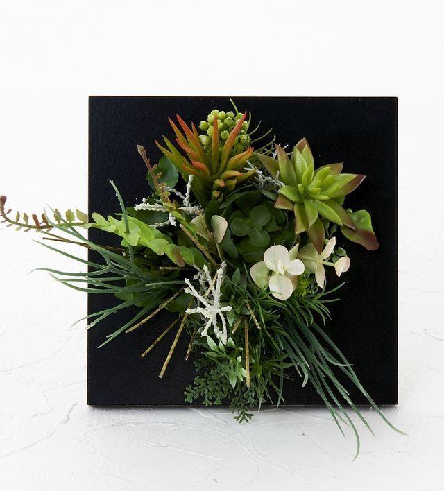 【スクエアフレーム 造花インテリアグリーン】天鵞絨-Mサイズ