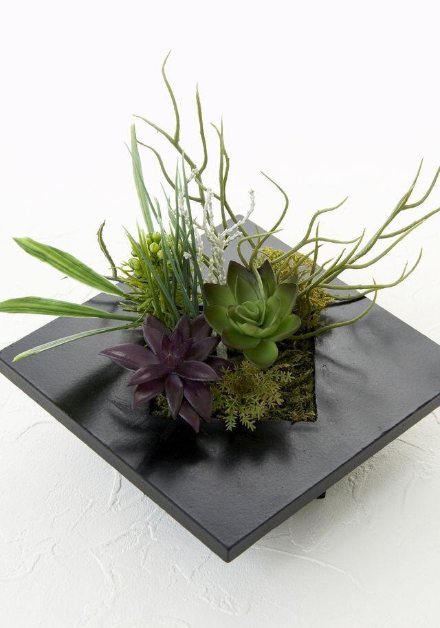 【スクエアフレーム 造花インテリアグリーン】海松-Mサイズ