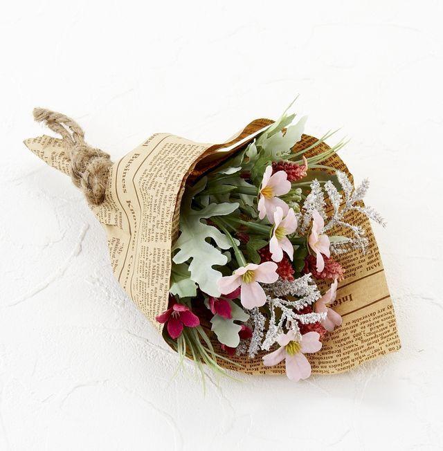 【造花・アーティフィシャルフラワーミニ花束】ナチュラルフラワー・リトルブーケ(ピンク)