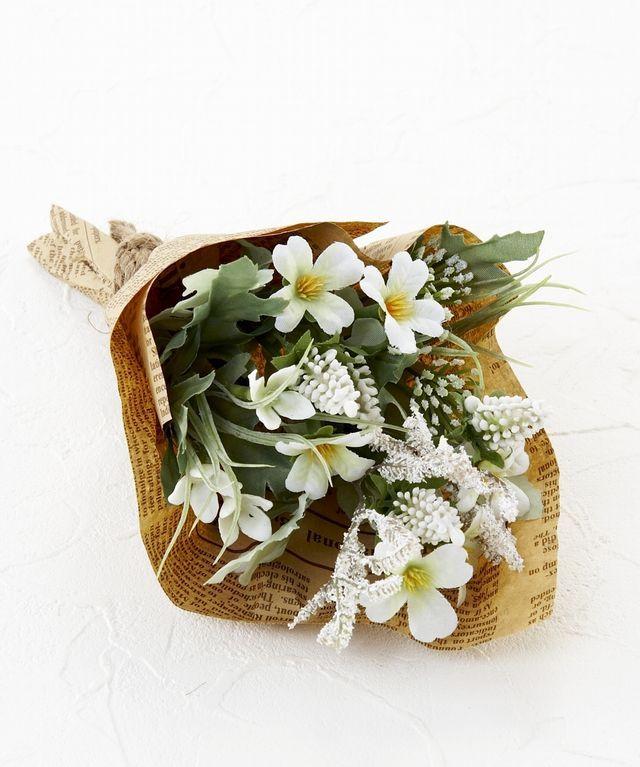 【造花・アーティフィシャルフラワーミニ花束】ナチュラルフラワー・リトルブーケ(ホワイト)