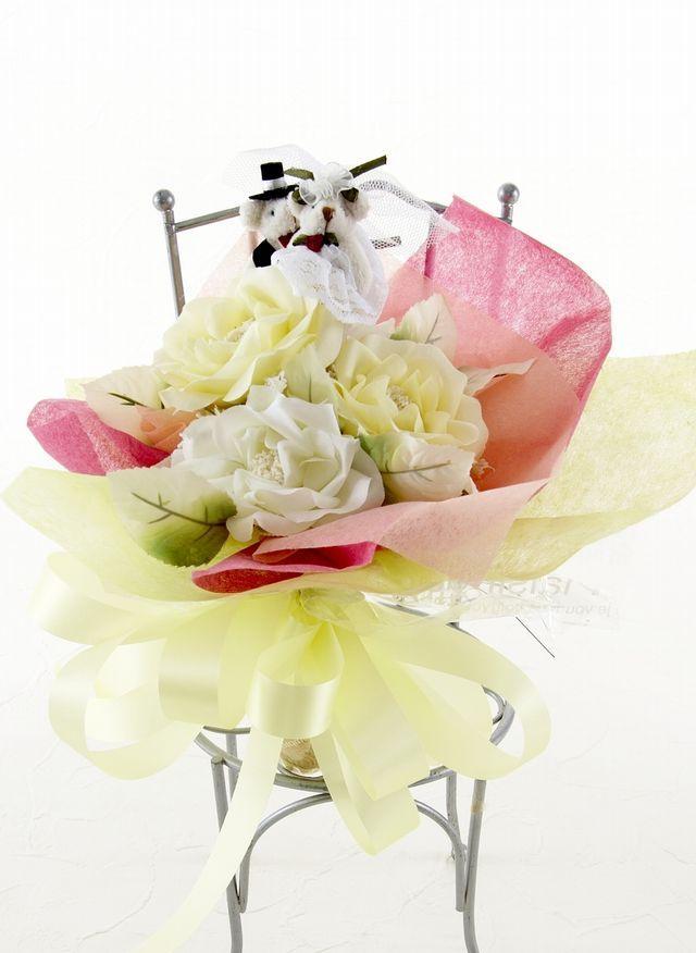 【造花花束&トスブーケ/2wayタイプ】ウェディングベアーSサイズ/イエローパステルローズ