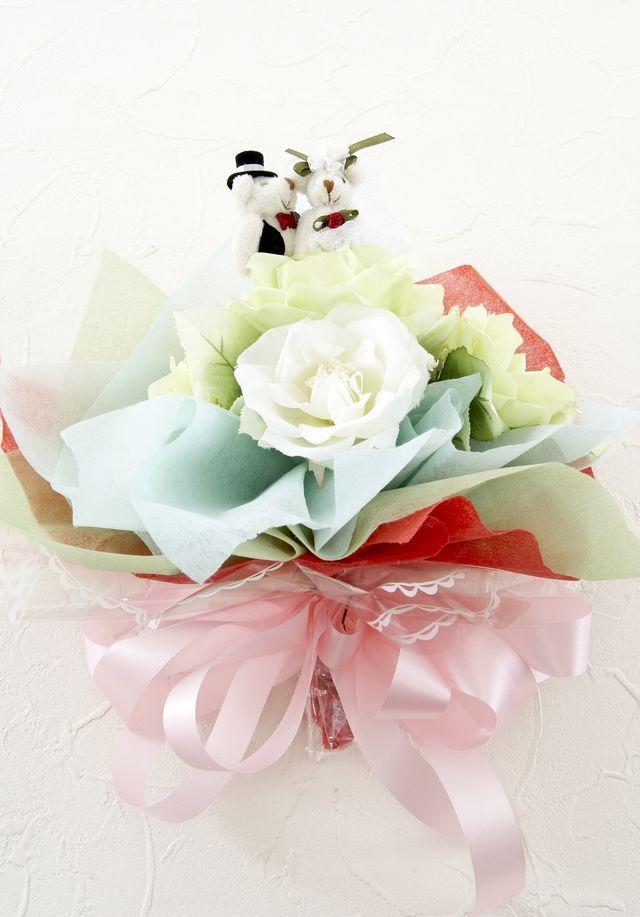 【造花花束&トスブーケ/2wayタイプ】ウェディングベアーSサイズ/ライトグリーンパステルローズ