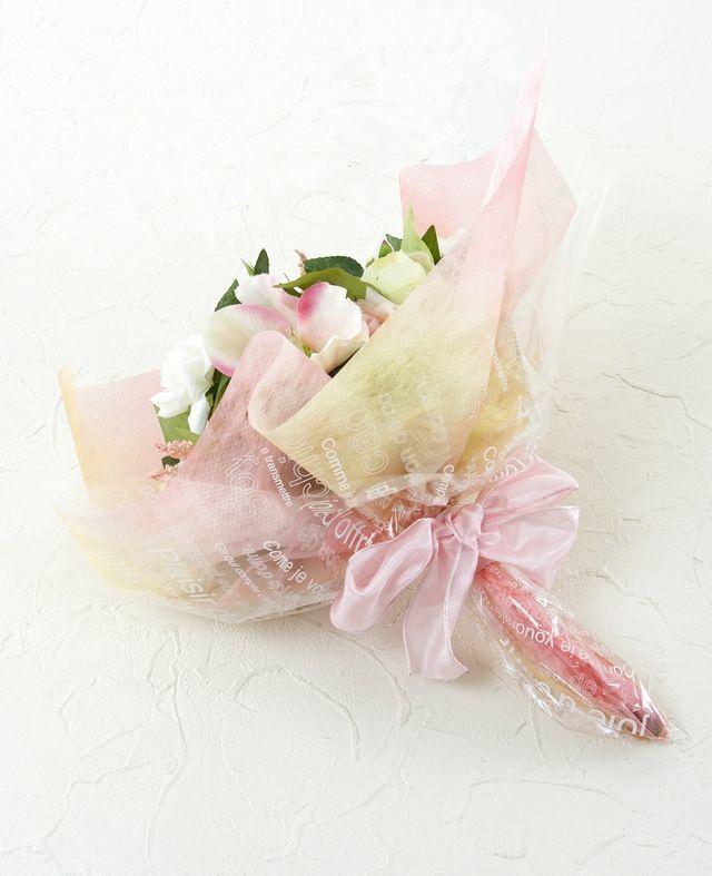 【造花・アーティフィシャルフラワー・フェイクブーケ】ミニバラとクリスマスローズの造花花束