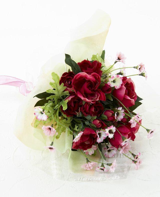 【造花・アーティフィシャルフラワー・フェイクブーケ】ミニローズとピンクデイジーの造花花束