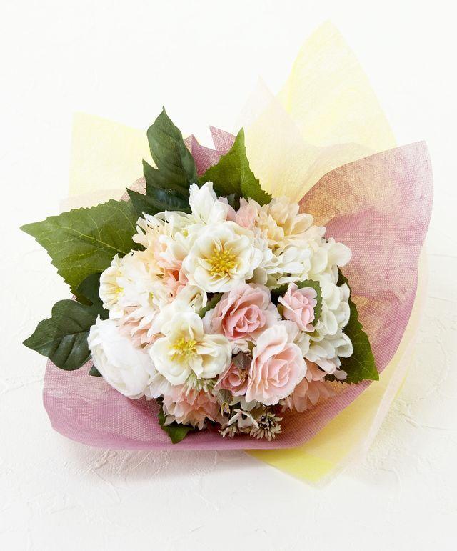 【造花花束&トスブーケ/2wayタイプ】ローズ&ガーベラブーケ/ミルキーピンク