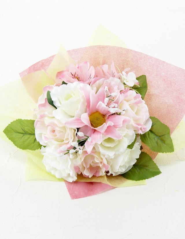 【造花花束&トスブーケ/2wayタイプ】バラ&ガーベラ&アルストロメリアブーケ/ピンクホワイト