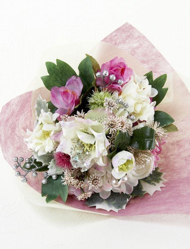 【造花花束&トスブーケ/2wayタイプ】バラ&クリスマスローズミックスブーケ/ピンク系