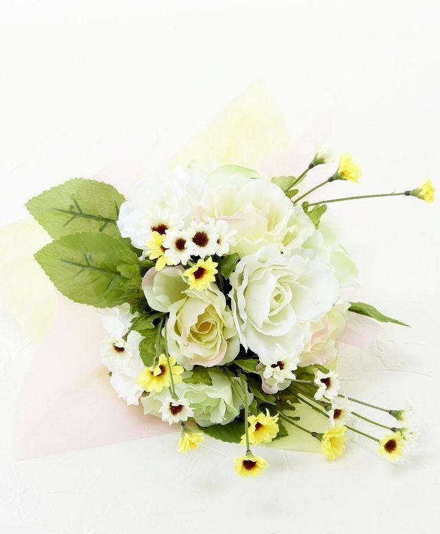 【造花花束&トスブーケ/2wayタイプ】ローズ&デイジーのブーケ/フレッシュホワイト