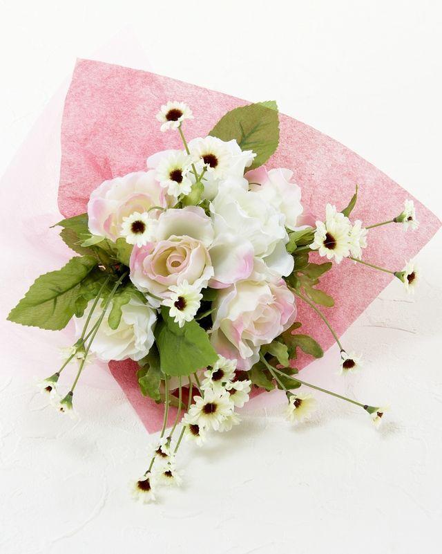 【造花花束&トスブーケ/2wayタイプ】ローズ&デイジーのブーケ/ピンクホワイト