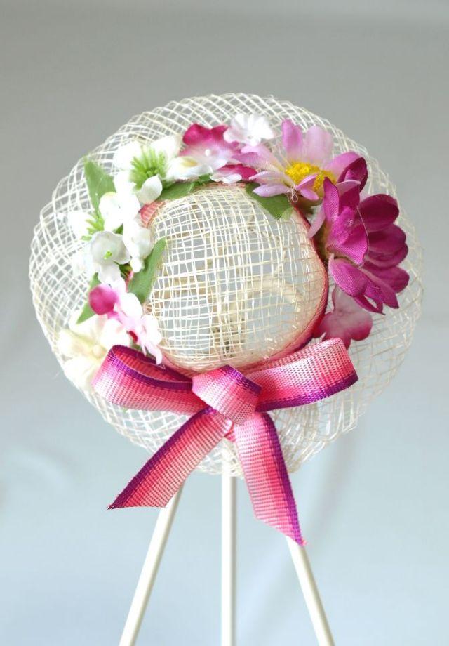 帽子のコサージュ&髪飾り(両用タイプ/ピンクワイン)