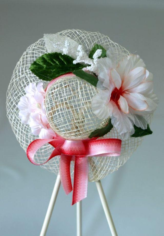 帽子のコサージュ&髪飾り(両用タイプ/パステルレッド)