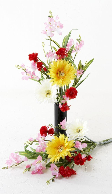 【造花 供花】ガーベラ&カーネーション&スイートピーのシンプルミニ仏花セット(左右1対)