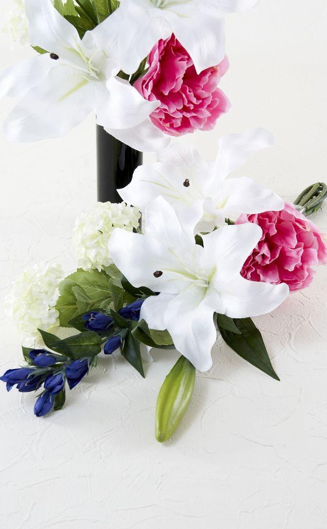 【造花の仏花・供花】百合&ピオニーの供花(左右1対セット)