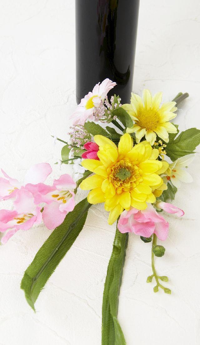 【造花 ミニ供花】ガーベラ&フリージアのミニ仏花セット(左右1対)