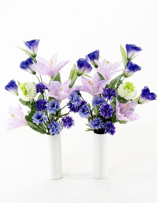 【造花 ミニ供花】ダリアとアサガオのナチュラルミニ仏花セット(左右1対)