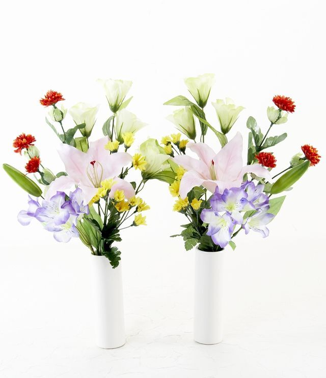 【造花 ミニ供花】朝顔とクレマチスのナチュラルミニ仏花セット(左右1対)