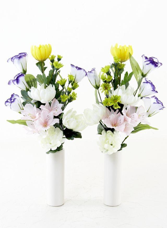 【造花 ミニ供花】デイジー&チューリップのミニ仏花セットA(左右1対)