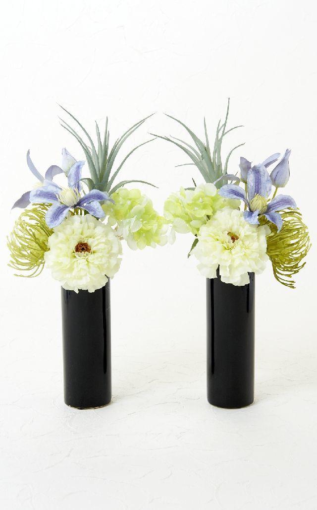【造花 ミニ供花】ピンクッションとダリアのナチュラルミニ仏花セット(左右1対)