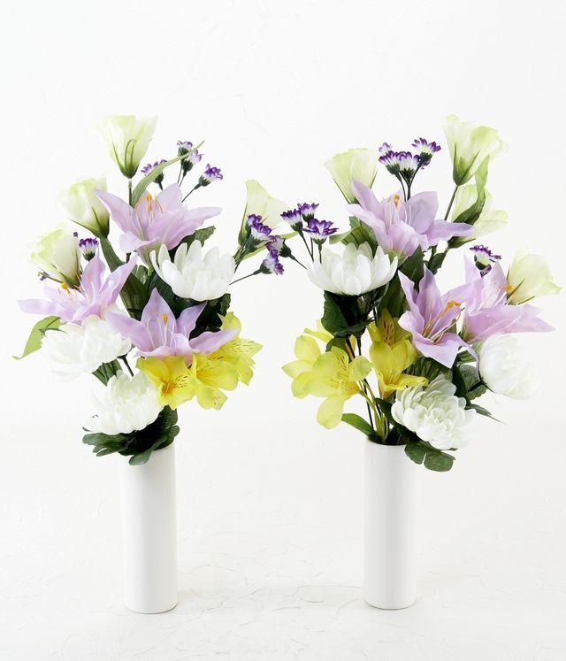 【造花 ミニ供花】クレマチスとアサガオのナチュラルミニ仏花セット(左右1対)