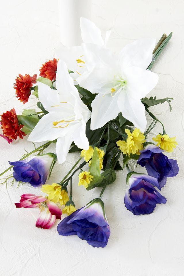 【造花 ミニ供花】ラベンダーとクレマチスのナチュラルミニ仏花セット(左右1対)
