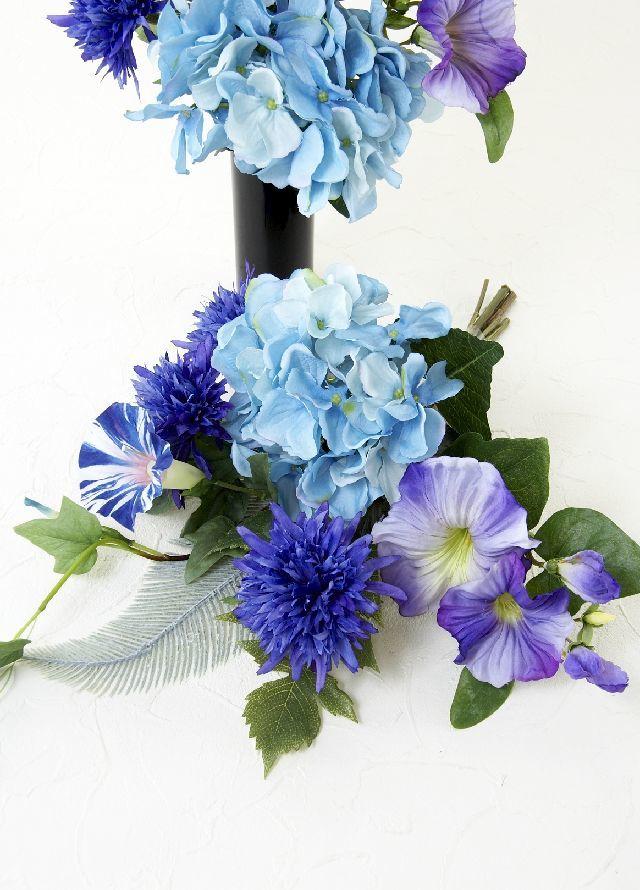 【造花 ミニ供花】モーニンググローリーと矢車草のナチュラルミニ仏花セット(左右1対)