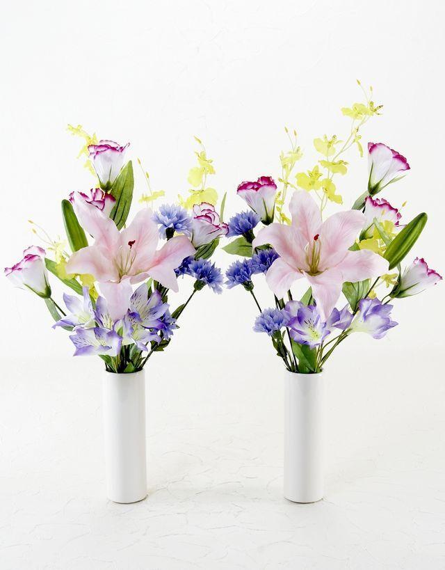 【造花 ミニ供花】スターフラワーとペチュニアのナチュラルミニ仏花セット(左右1対)