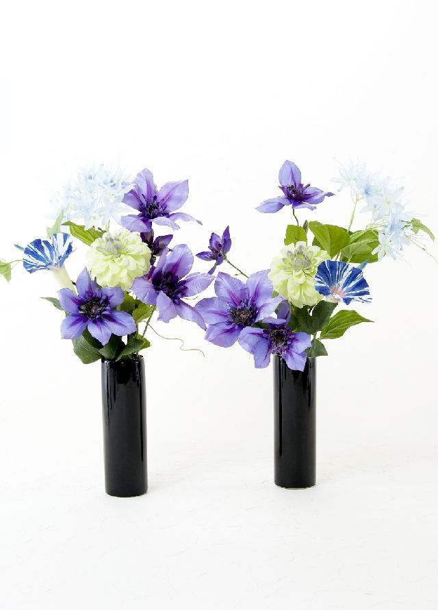 【造花 ミニ供花】クレマチスとダリアのナチュラルミニ仏花セット(左右1対)