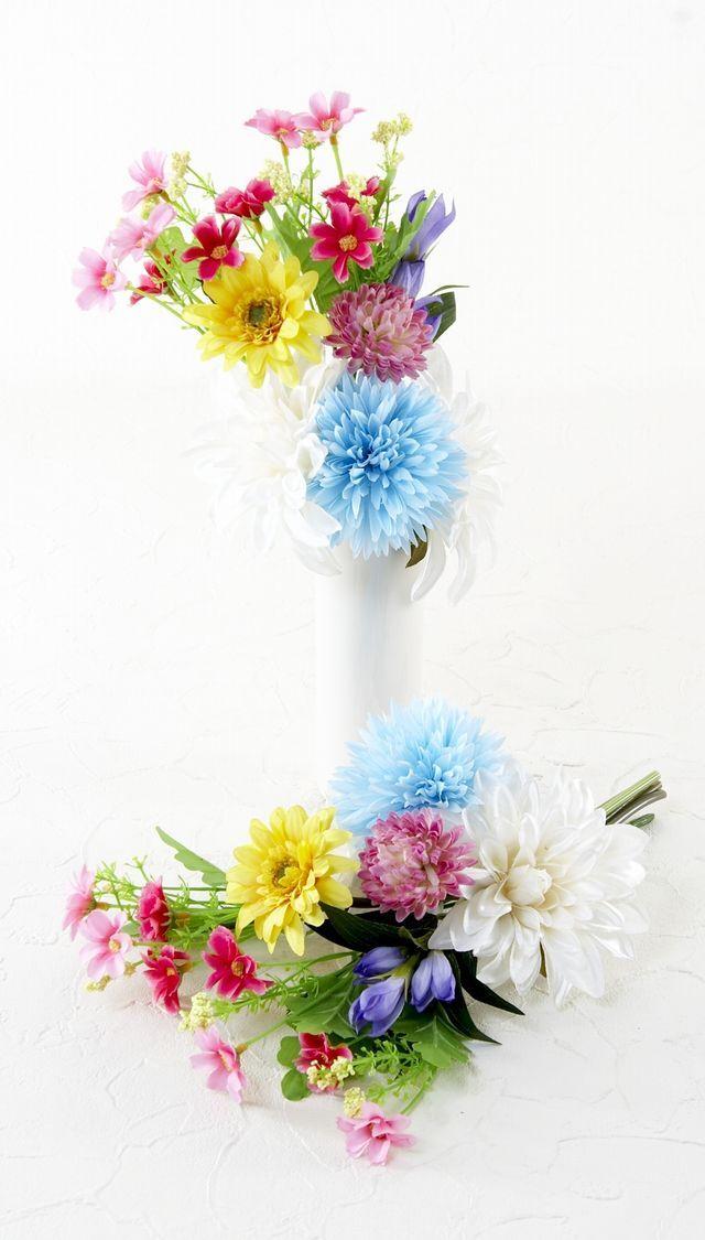 【造花 ミニ供花】菊とアリストロメリアのナチュラルミニ仏花セット(左右1対)