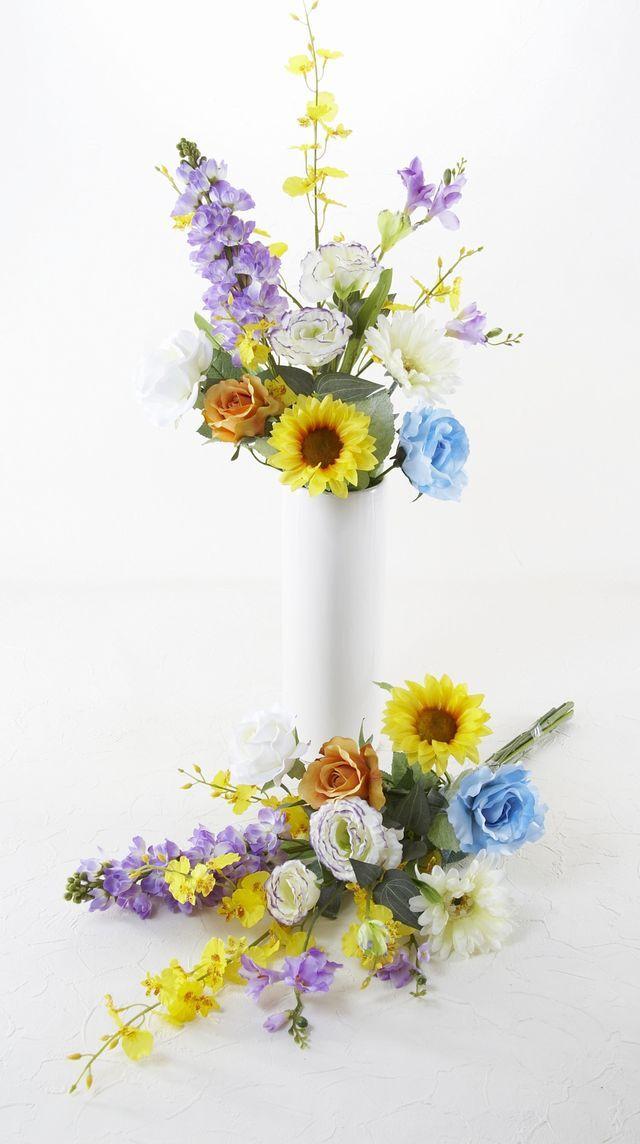 【造花 洋花の供花】向日葵&薔薇とストックの造花仏花/2束セット(左右1対)
