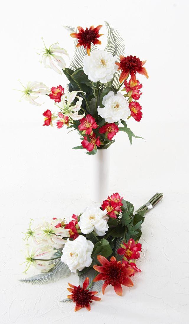 【造花 洋花の供花】野薔薇&グロリオサの造花仏花/2束セット(左右1対)