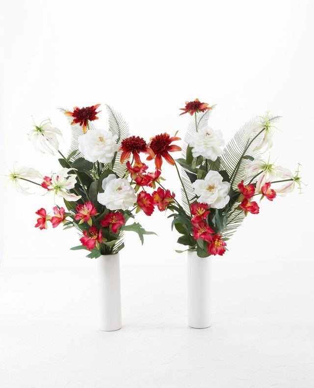【造花 ミニ供花】キクとピオニーのナチュラルミニ仏花セット(左右1対)
