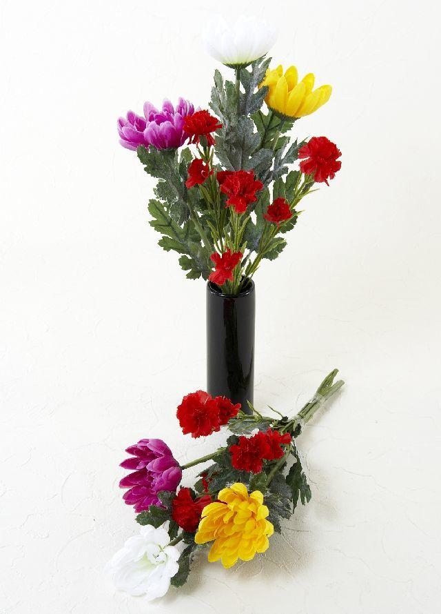 【造花 ミニ供花】3色の菊とカーネーションのナチュラルミニ仏花セット(左右1対)