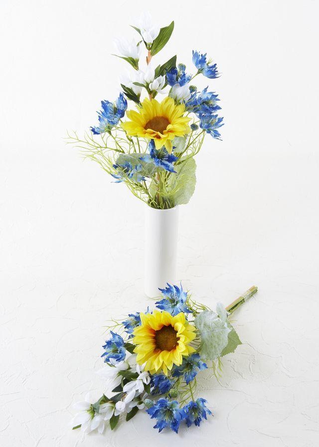【造花 洋花の供花】ひまわり&ニゲラの造花仏花/2束セット(左右1対)