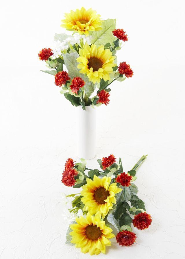 【お墓・仏壇用の造花 供花】ひまわり&ハイドレンジャの造花仏花セット(左右1対)