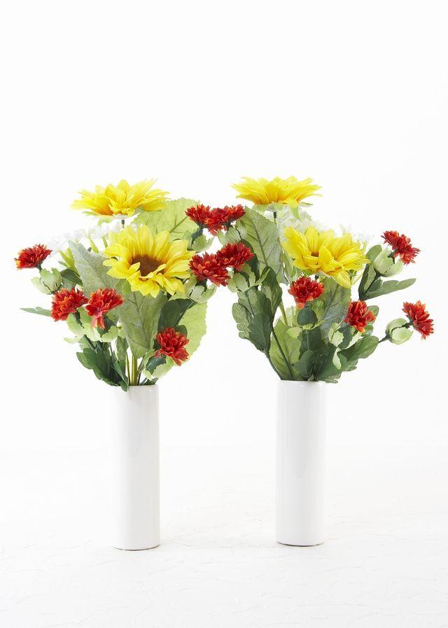 【お墓・仏壇用の造花 供花】向日葵と紅花のミニ仏花セット(左右1対)