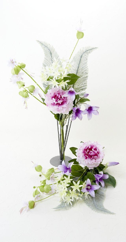 【造花の仏花・供花】ピオニー&ノーブルクレマチスの供花(左右1対セット)