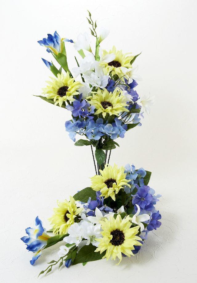 【造花の仏花・供花】ひまわり&ノーブルクレマチスの供花(左右1対セット)