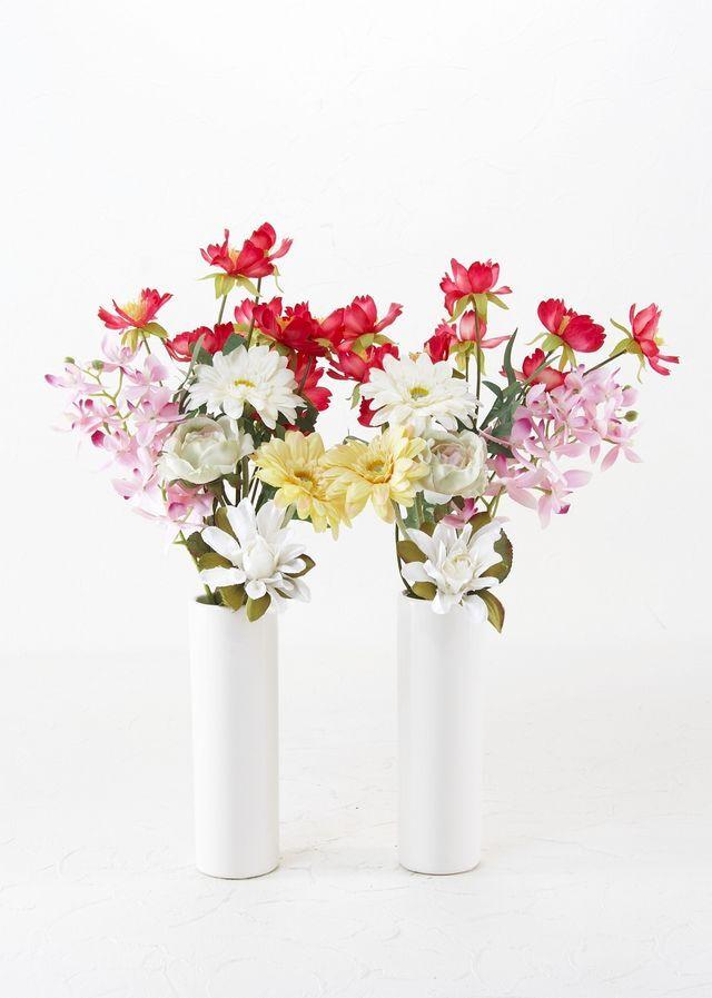 【お墓・仏壇用の造花 供花】ガーベラと蘭のミニ仏花セット(左右1対)