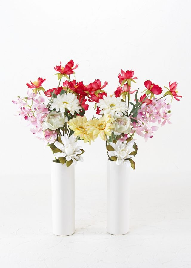 【造花の仏花・供花】矢車草&トルコキキョウの供花(左右1対セット)