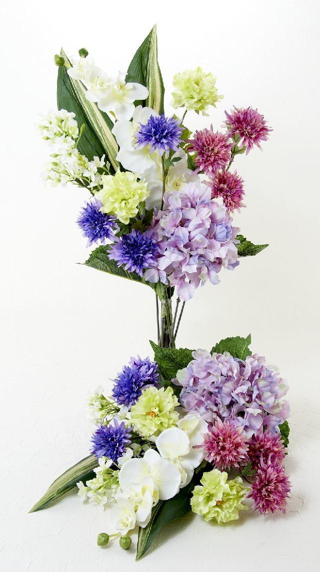 【造花の仏花・供花】胡蝶蘭&ハイドレンジャの供花(左右1対セット)