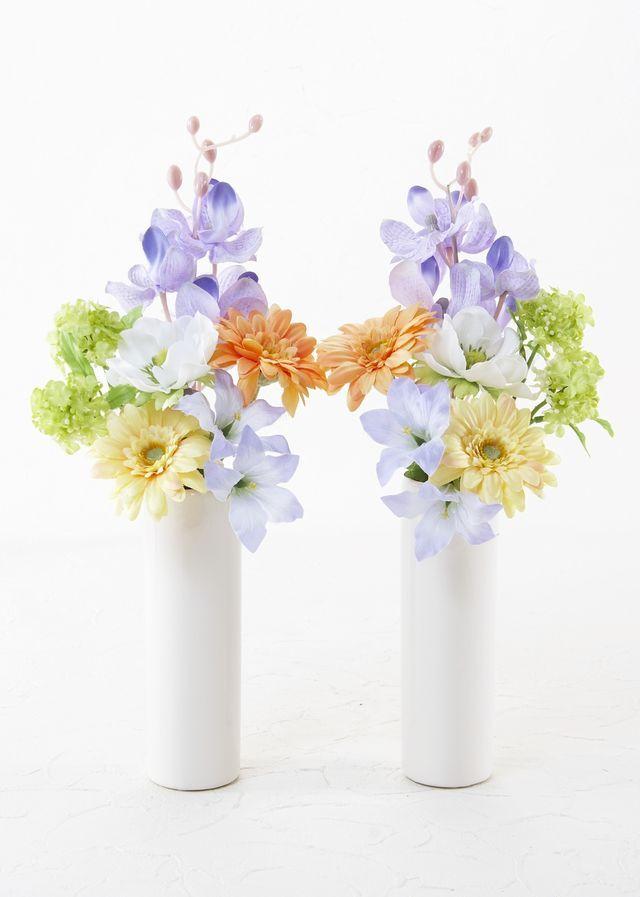 【お墓・仏壇用の造花 供花】ガーベラとアネモネのミニ仏花セット(左右1対)
